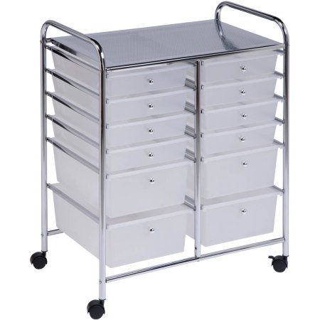 Honey Can Do 12 Drawer Rolling Cart For Office Art Studio Classroom Home  Storage Plastic Organizer CRT01683 Clear White New
