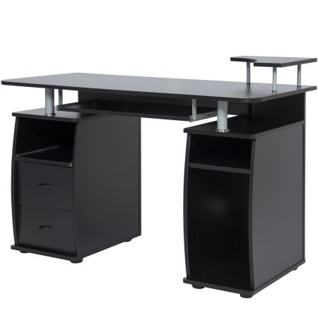 Computer Desk Work Station Laptop Table Home Office With Elevated Monitor Stand 2 Slide Out Shelves Pull Drawers 1 Extra Open Shelf And Tower Storage