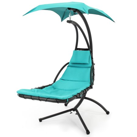 Hanging Chaise Lounger Chair Arc Stand Swing Air Hammock For Outdoor Porch  Patio With Canopy Teal Pillow In Blue New
